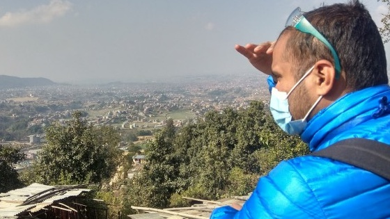 Ram Chandra looks over the city of Kathmandu in Nepal